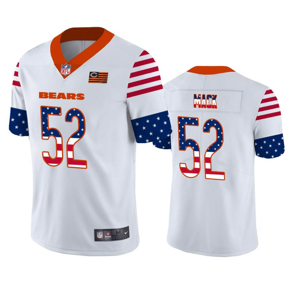 Men's Chicago Bears #52 Khalil Mack White 2019 USA Flag Fashion Limited Stitched NFL Jersey