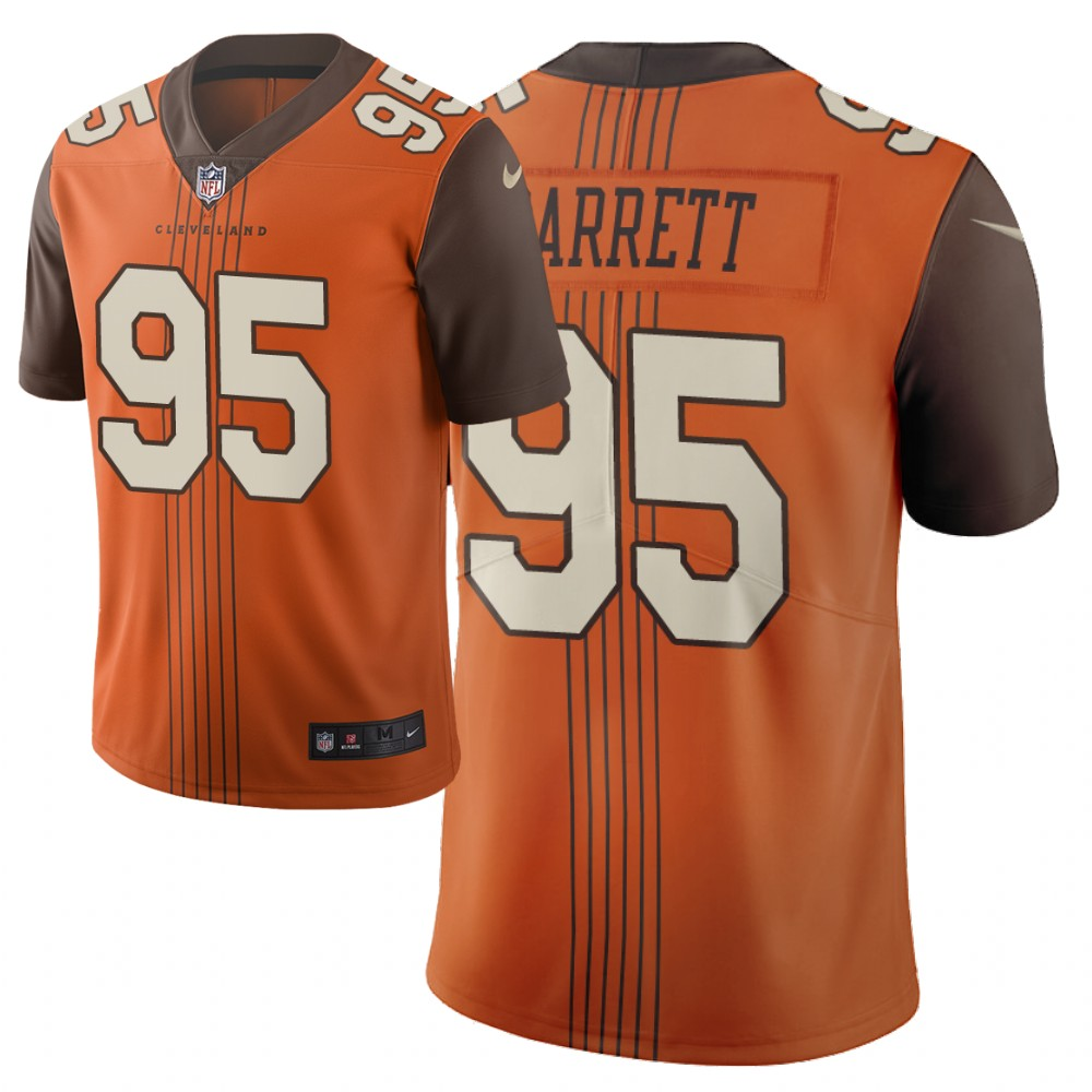 Men's Cleveland Browns #95 Myles Garrett Orange 2019 City Edition Limited Stitched NFL Jersey