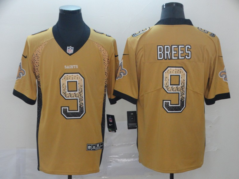 Men's New Orleans Saints #9 Drew Brees Gold 2018 Drift Fashion Color Rush Limited Stitched NFL Jersey