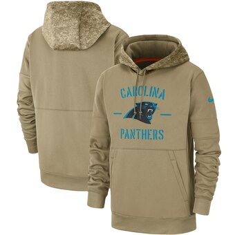 Men's Carolina Panthers Tan 2019 Salute to Service Sideline Therma Pullover Hoodie