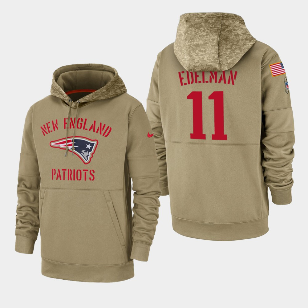 Men's New England Patriots #11 Julian Edelman Tan 2019 Salute to Service Sideline Therma Pullover Hoodie