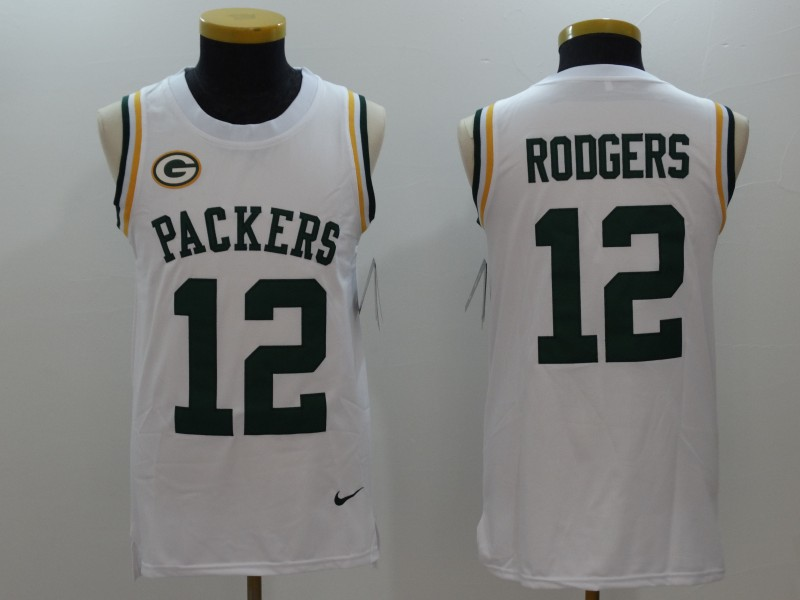 6da1e4348 Men s Green Bay Packers  12 Aaron Rodgers White Limited Tank Top Jersey