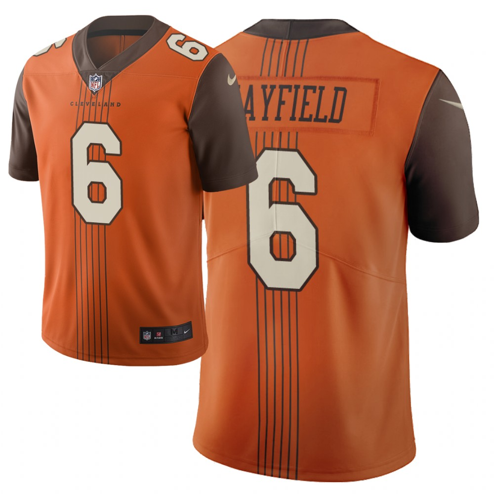 Men's Cleveland Browns #6 Baker Mayfield Orange 2019 City Edition Limited Stitched NFL Jersey