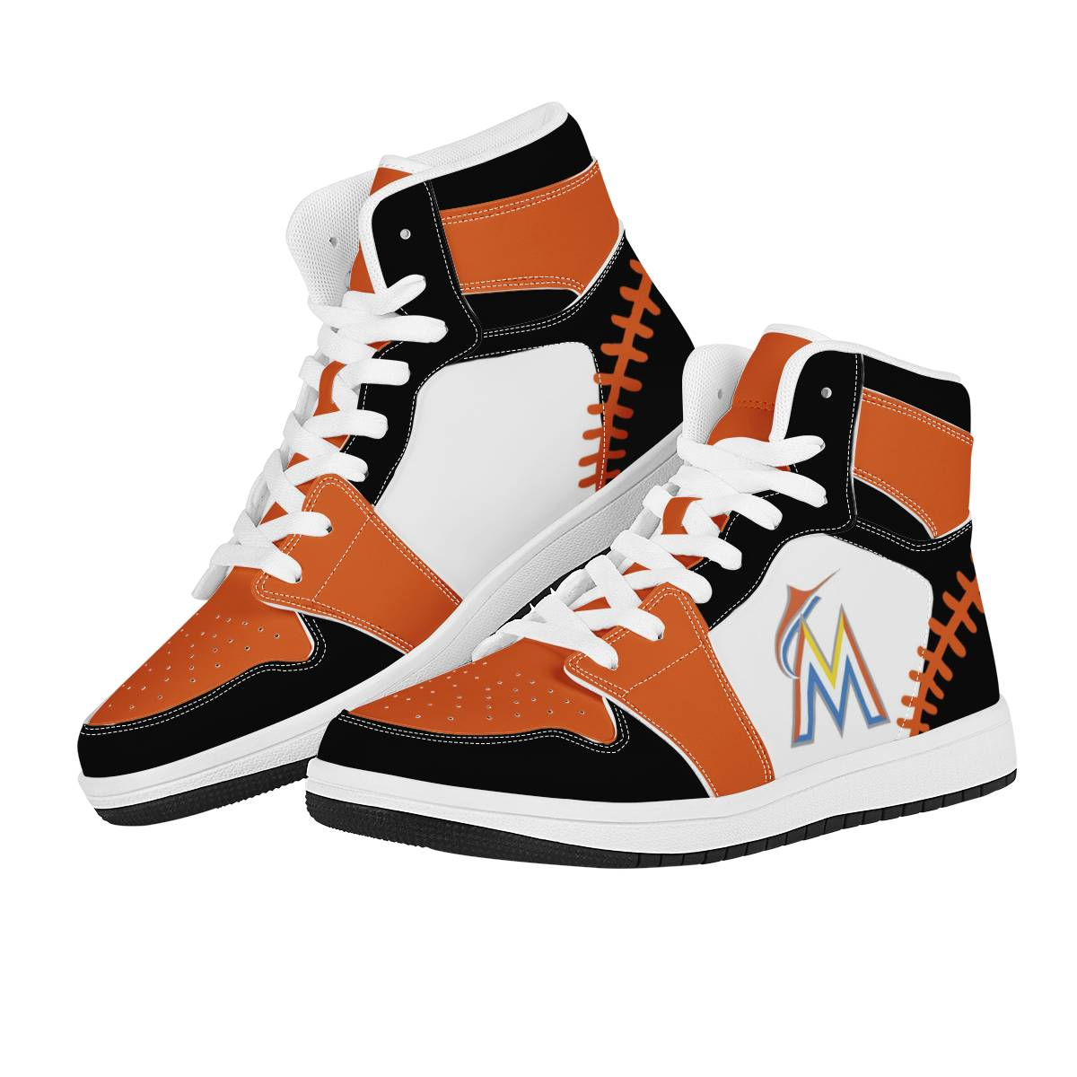 Women's Miami Marlins High Top Leather AJ1 Sneakers 003