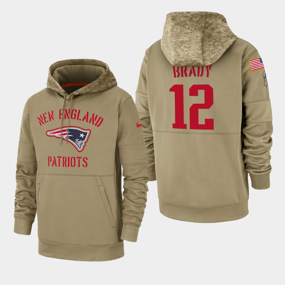 Men's New England Patriots #12 Tom Brady Tan 2019 Salute to Service Sideline Therma Pullover Hoodie