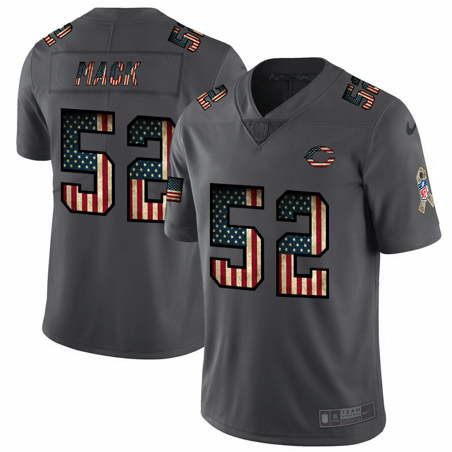 Men's Chicago Bears #52 Khalil Mack Grey 2019 Salute To Service USA Flag Fashion Limited Stitched NFL Jersey