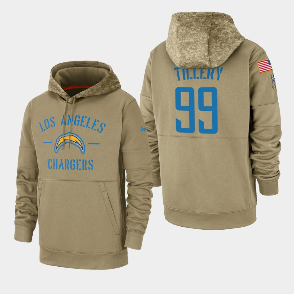 Men's Los Angeles Chargers #99 Jerry Tillery Tan 2019 Salute to Service Sideline Therma Pullover Hoodie