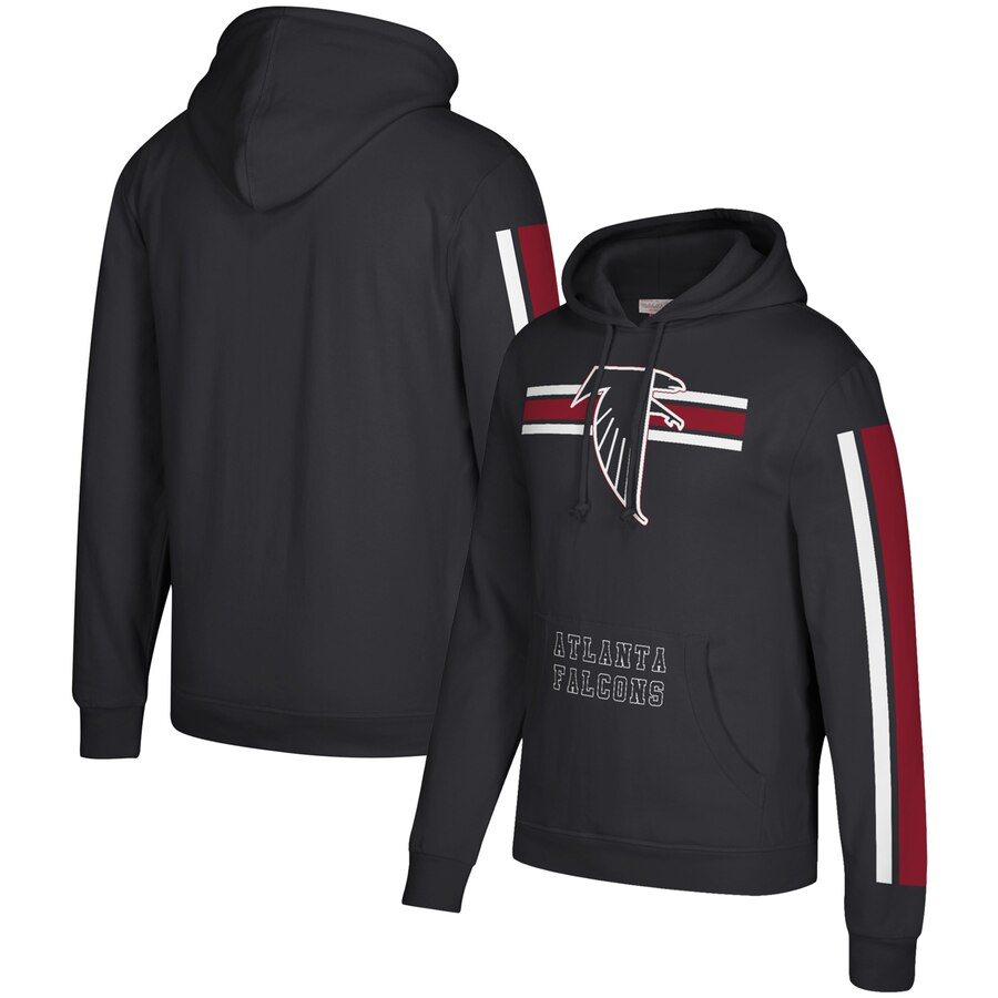 Men's Atlanta Falcons 2019 Black Mitchell & Ness Three Stripe Pullover Hoodie