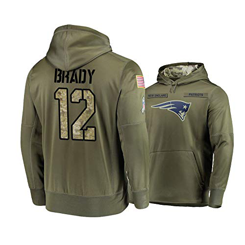 Men's New England Patriots #12 Tom Brady 2019 Olive Salute To Service Sideline Therma Performance Pullover Hoodie