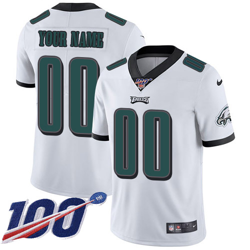 Men's Philadelphia Eagles ACTIVE PLAYER Custom White 100th Season Vapor Untouchable Limited Stitched NFL Jersey