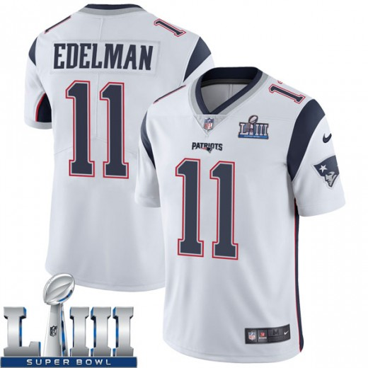 Men's New England Patriots #11 Julian Edelman White Super Bowl LIII Vapor Untouchable Limited Stitched NFL Jersey
