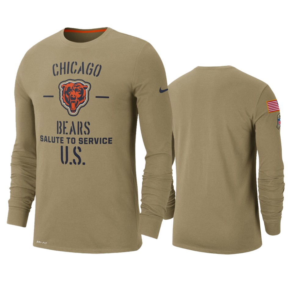 Men's Chicago Bears Tan 2019 Salute to Service Sideline Performance Long Sleeve Shirt