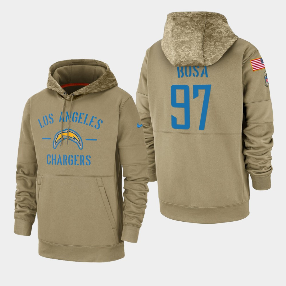 Men's Los Angeles Chargers #97 Joey Bosa Tan 2019 Salute to Service Sideline Therma Pullover Hoodie