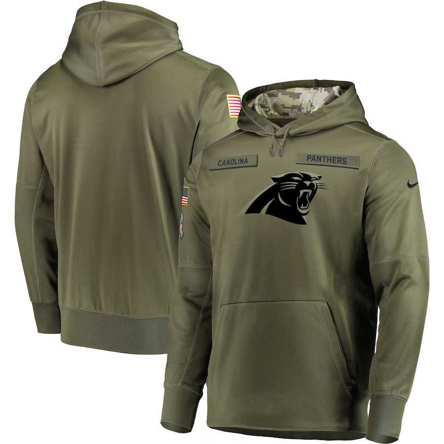 Men's Carolina Panthers 2018 Olive Salute to Service Sideline Therma Performance Pullover Stitched NFL Hoodie