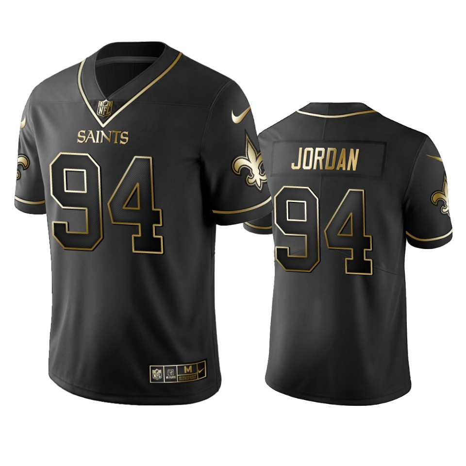 Men's New Orleans Saints #94 Cameron Jordan Black 2019 Golden Edition Limited Stitched NFL Jersey