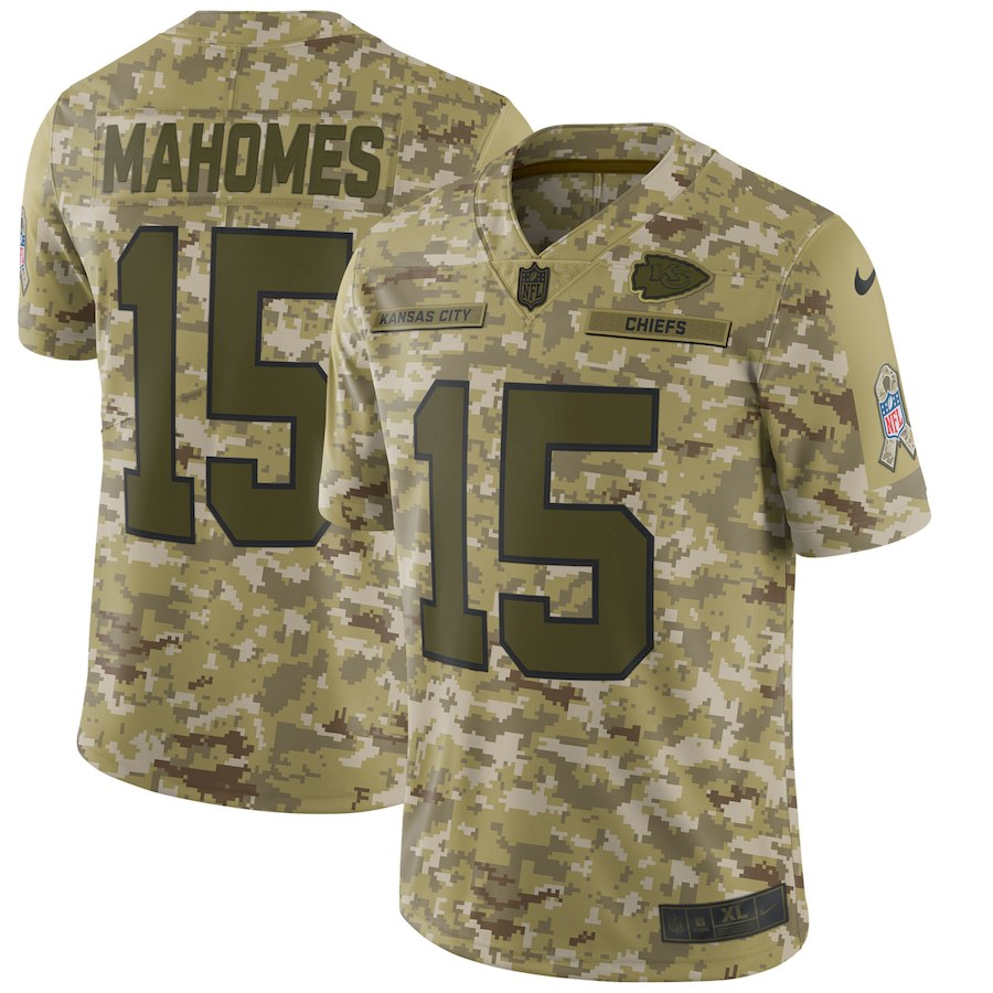 Men's Kansas City Chiefs #15 Patrick Mahomes 2018 Camo Salute to Service Limited Stitched NFL Jersey