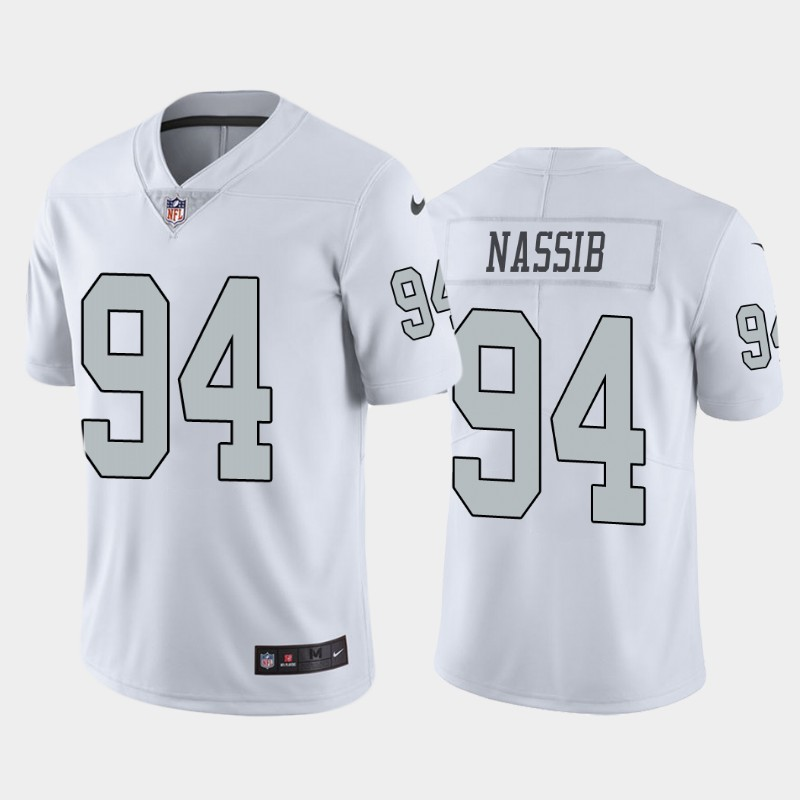 Men's Las Vegas Raiders #94 Carl Nassib White Color Rush Stitched Jersey