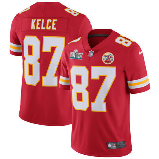 Men's Kansas City Chiefs #87 Travis Kelce Super Bowl LIV Red Vapor Untouchable Limited Stitched NFL Jersey