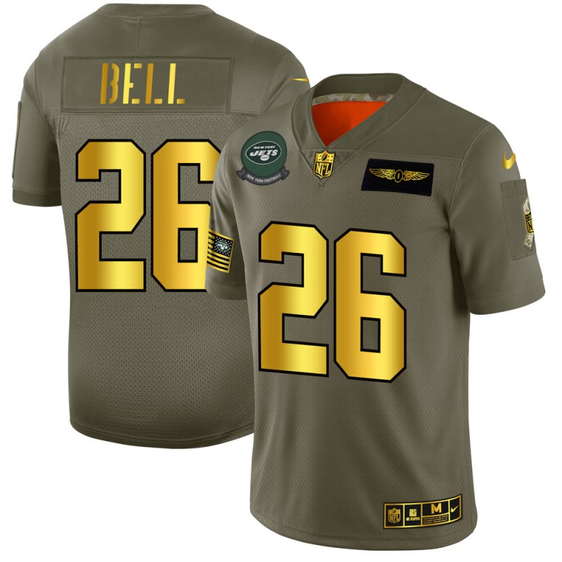 Men's New York Jets #26 Le'Veon Bell 2019 Olive/Gold Salute To Service Limited Stitched NFL Jersey