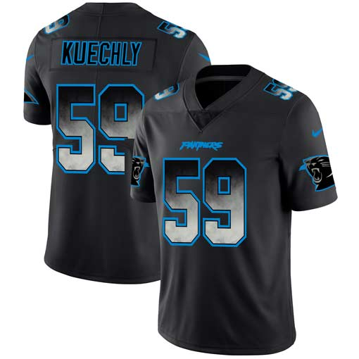 Men's Carolina Panthers #59 Luke Kuechly Black 2019 Smoke Fashion Limited Stitched NFL Jersey