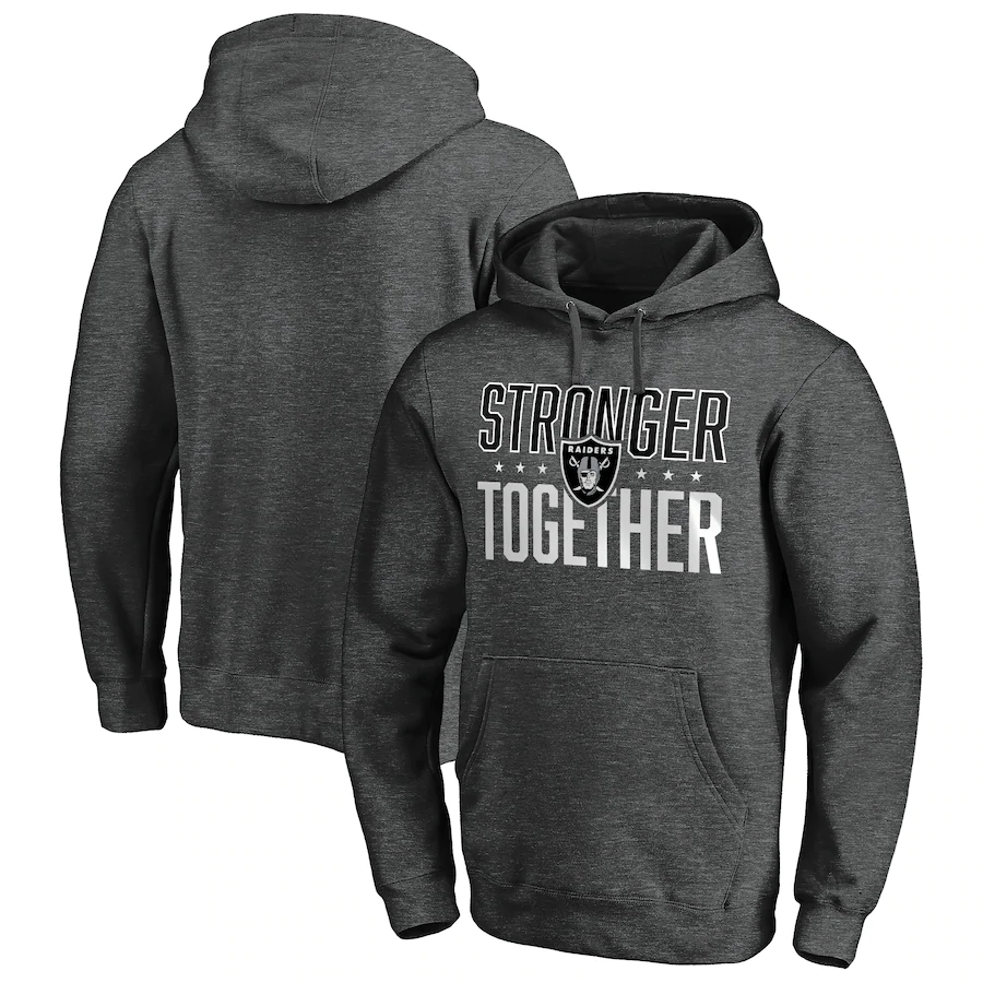 Men's Las Vegas Raiders Heather Charcoal Stronger Together Pullover Hoodie