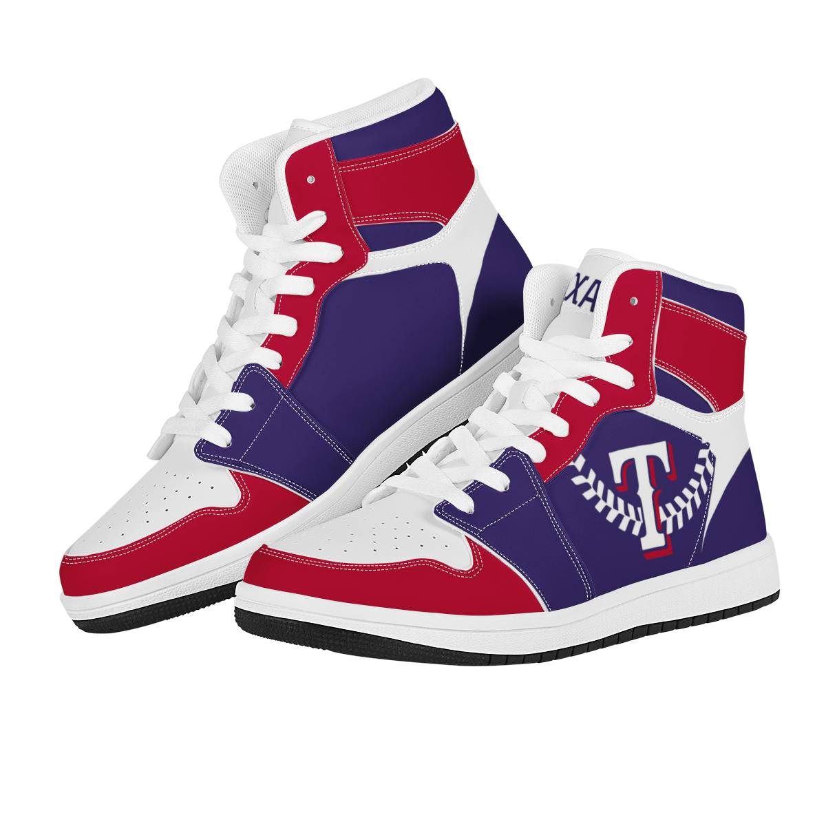 Women's Texas Rangers High Top Leather AJ1 Sneakers 001