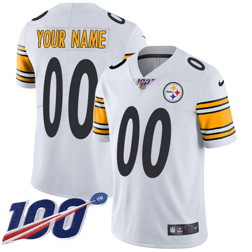 Men's Pittsburgh Steelers ACTIVE PLAYER Custom White 100th Season Vapor Untouchable Limited Stitched NFL Jersey
