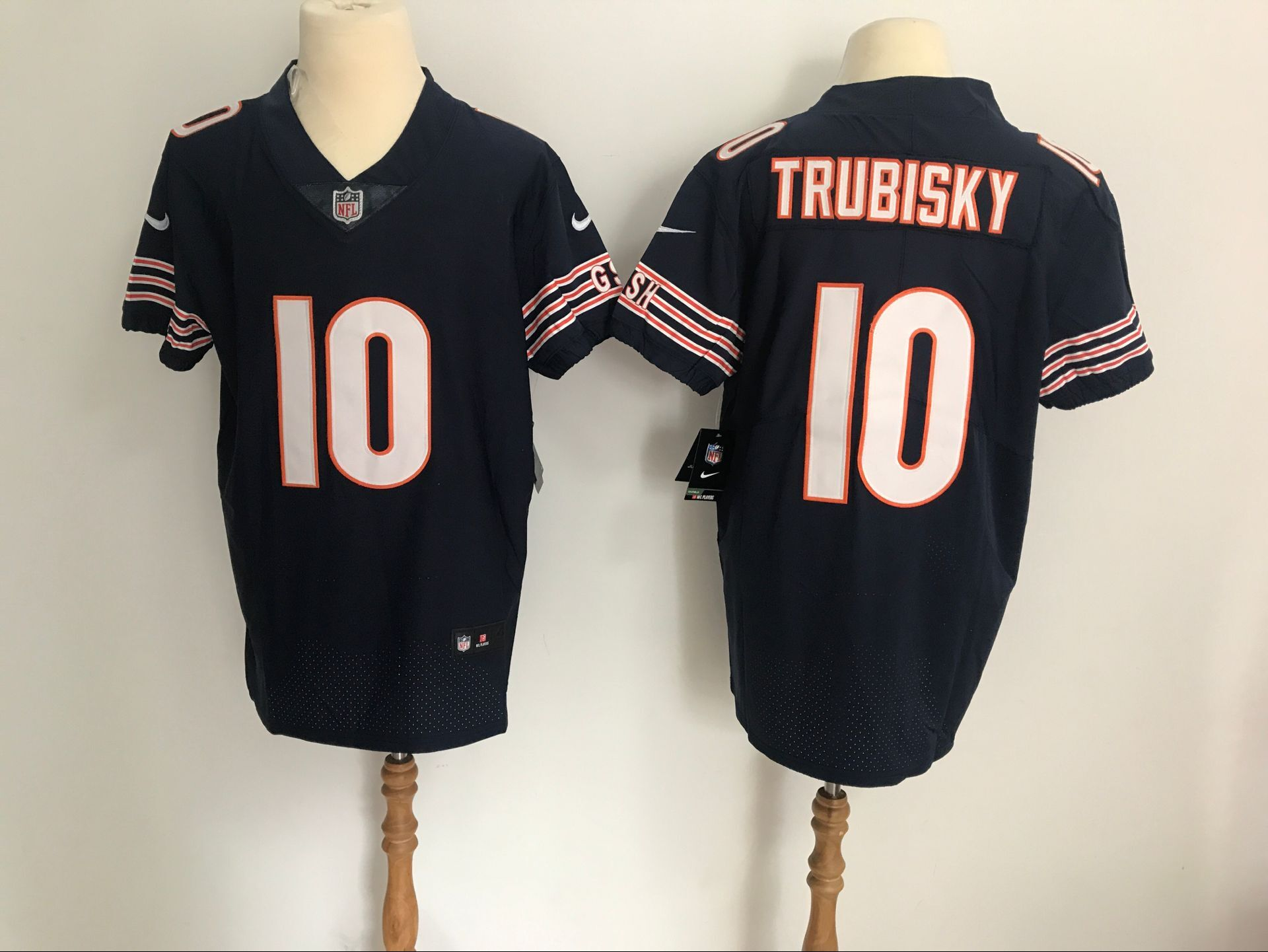 Men's Chicago Bears #10 Mitchell Trubisky Black Vapor Untouchable Elite Stitched NFL Jersey