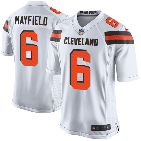 Men's Cleveland Browns #6 Baker Mayfield White 2018 NFL Draft Pick Game Jersey