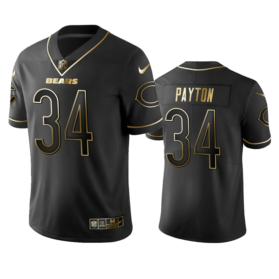Men's Chicago Bears #34 Walter Payton Black 2019 Golden Edition Limited Stitched NFL Jersey