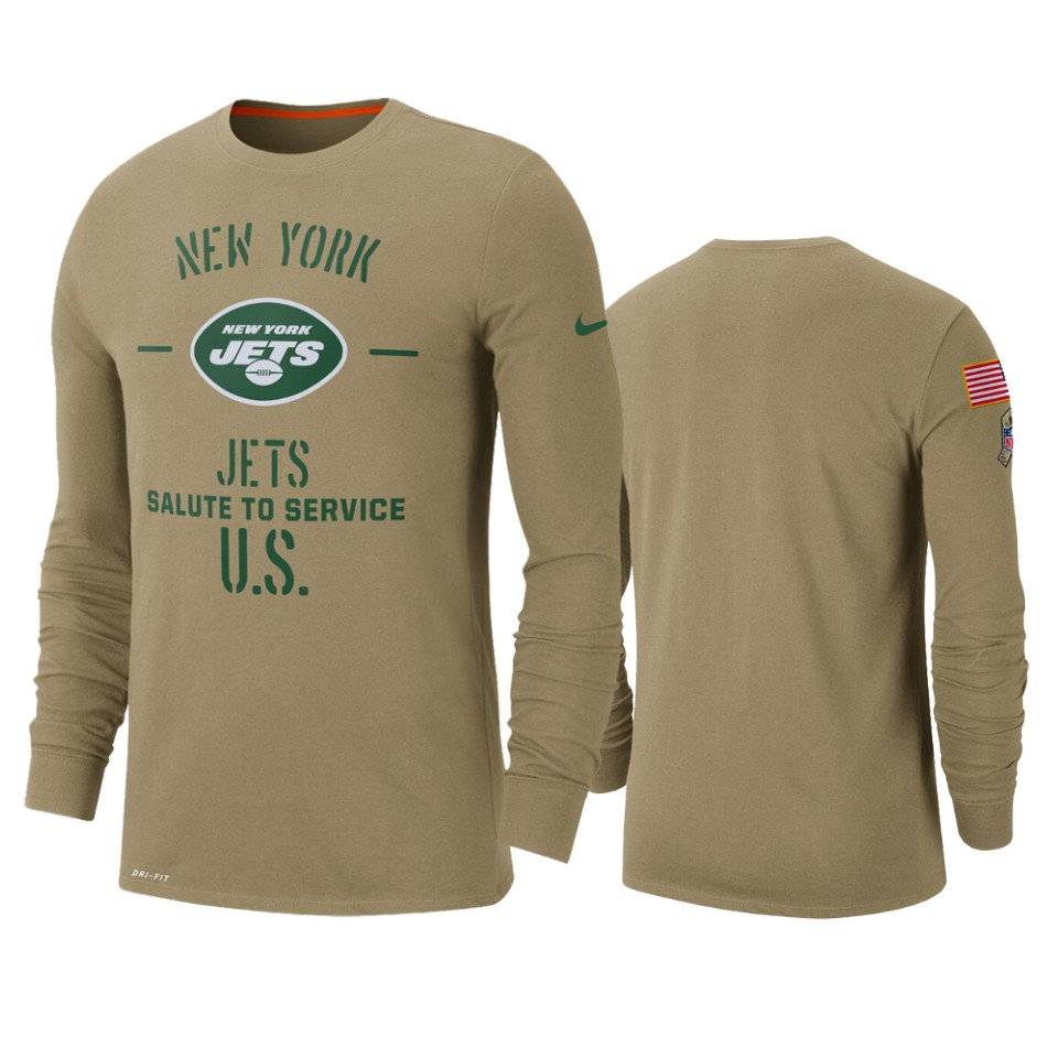 Men's New York Jets Tan 2019 Salute to Service Sideline Performance Long Sleeve Shirt