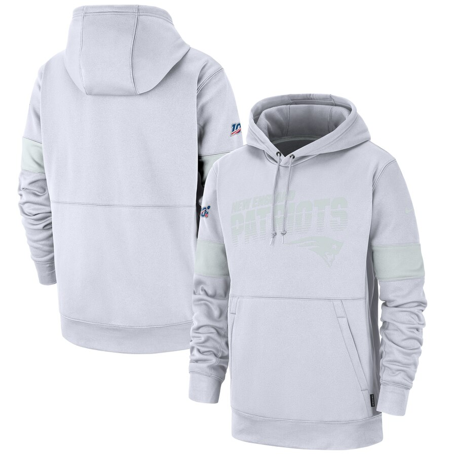 Men's New England Patriots White 2019 100th Season Sideline Platinum Therma Pullover Hoodie