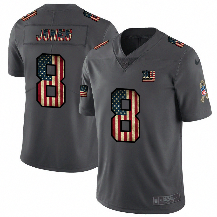 Men's New York Giants #8 Daniel Jones Grey 2019 Salute To Service USA Flag Fashion Limited Stitched NFL Jersey
