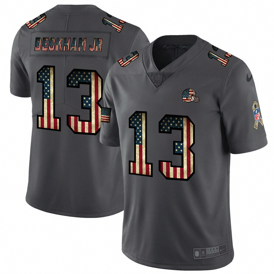 Men's Cleveland Browns #13 Odell Beckham Jr. Grey 2019 Salute To Service USA Flag Fashion Limited Stitched NFL Jersey