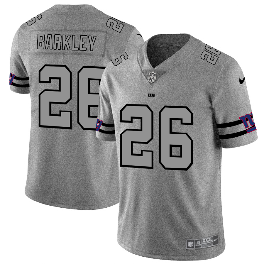 Men's New York Giants #26 Saquon Barkley 2019 Gray Gridiron Team Logo Limited Stitched NFL Jersey