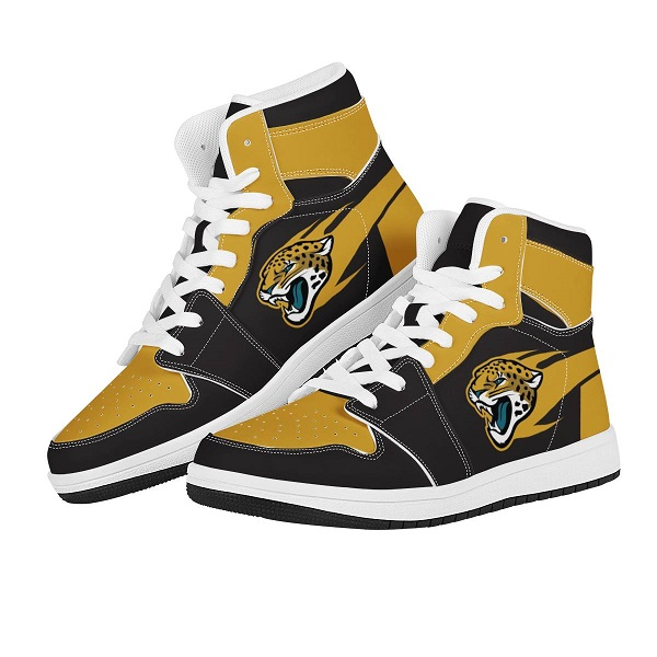 Men's Jacksonville Jaguars High Top Leather AJ1 Sneakers 001