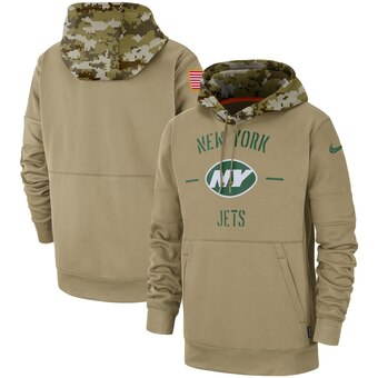 Men's New York Jets Tan 2019 Salute to Service Sideline Therma Pullover Hoodie