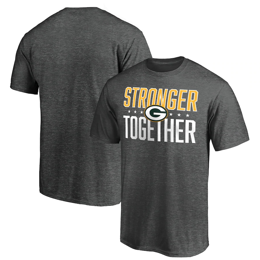 Men's Green Bay Packers Heather Charcoal Stronger Together T-Shirt