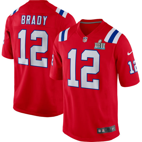 Youth New England Patriots Tom Brady Red Super Bowl LII Bound Game Jersey