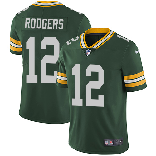 Men's Nike Green Bay Packers #12 Aaron Rodgers Green Team Color Stitched NFL Vapor Untouchable Limited Jersey