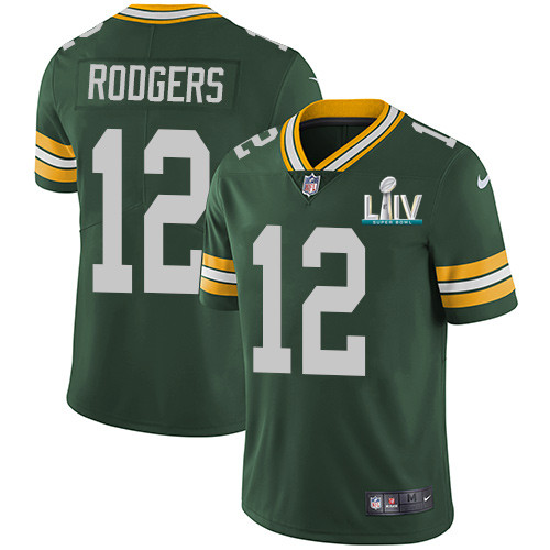 Men's Green Bay Packers #12 Aaron Rodgers Green Super Bowl LIV Vapor Untouchable Stitched NFL Limited Jersey