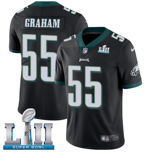 Men's Philadelphia Eagles # 55 Brandon Graham Black Super Bowl LII Game Stitched NFL Jersey