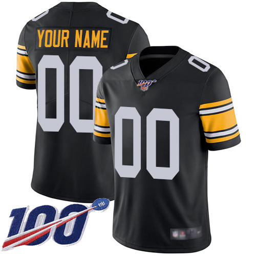 Men's Pittsburgh Steelers ACTIVE PLAYER Custom Black 100th Season Vapor Untouchable Limited Stitched NFL Jersey