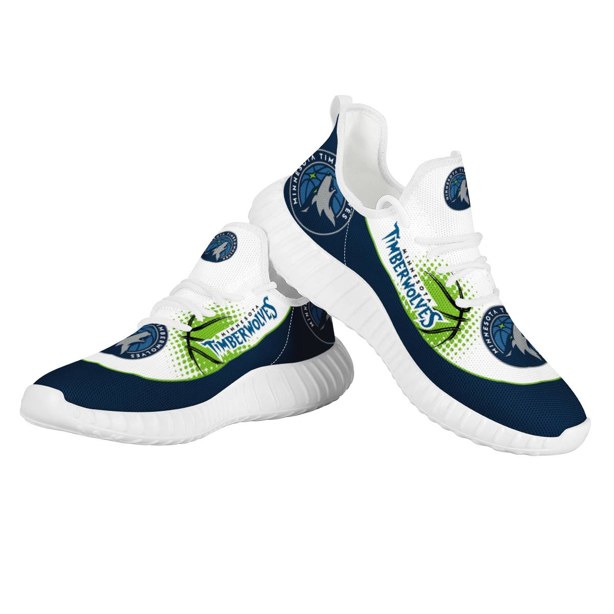 Men's Minnesota Timberwolves Mesh Knit Sneakers/Shoes 001