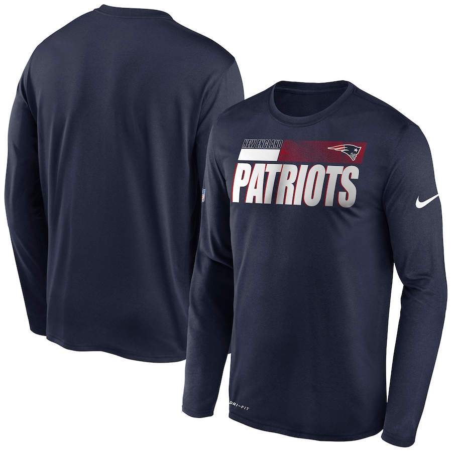 Men's New England Patriots 2020 Navy Sideline Impact Legend Performance Long Sleeve T-Shirt
