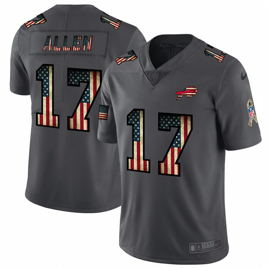 Men's Buffalo Bills #17 Josh Allen Grey 2019 Salute To Service USA Flag Fashion Limited Stitched NFL Jersey