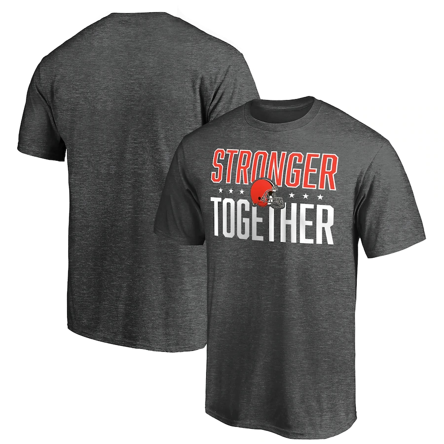 Men's Cleveland Browns Heather Charcoal Stronger Together T-Shirt