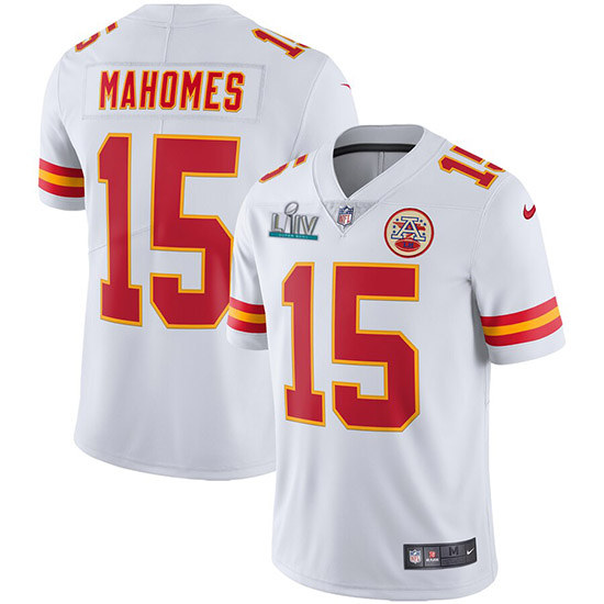 Men's Kansas City Chiefs #15 Patrick Mahomes Super Bowl LIV White Vapor Untouchable Limited Stitched NFL Jersey