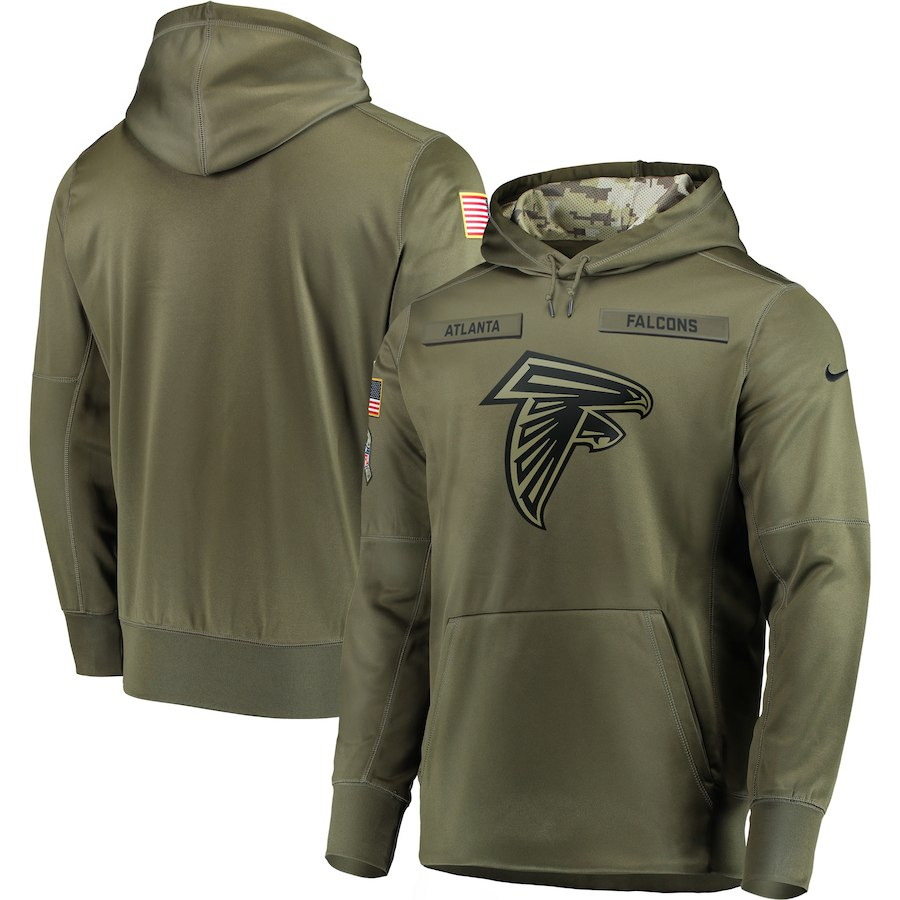 Men's Atlanta Falcons 2018 Olive Salute to Service Sideline Therma Performance Pullover Stitched NFL Hoodie