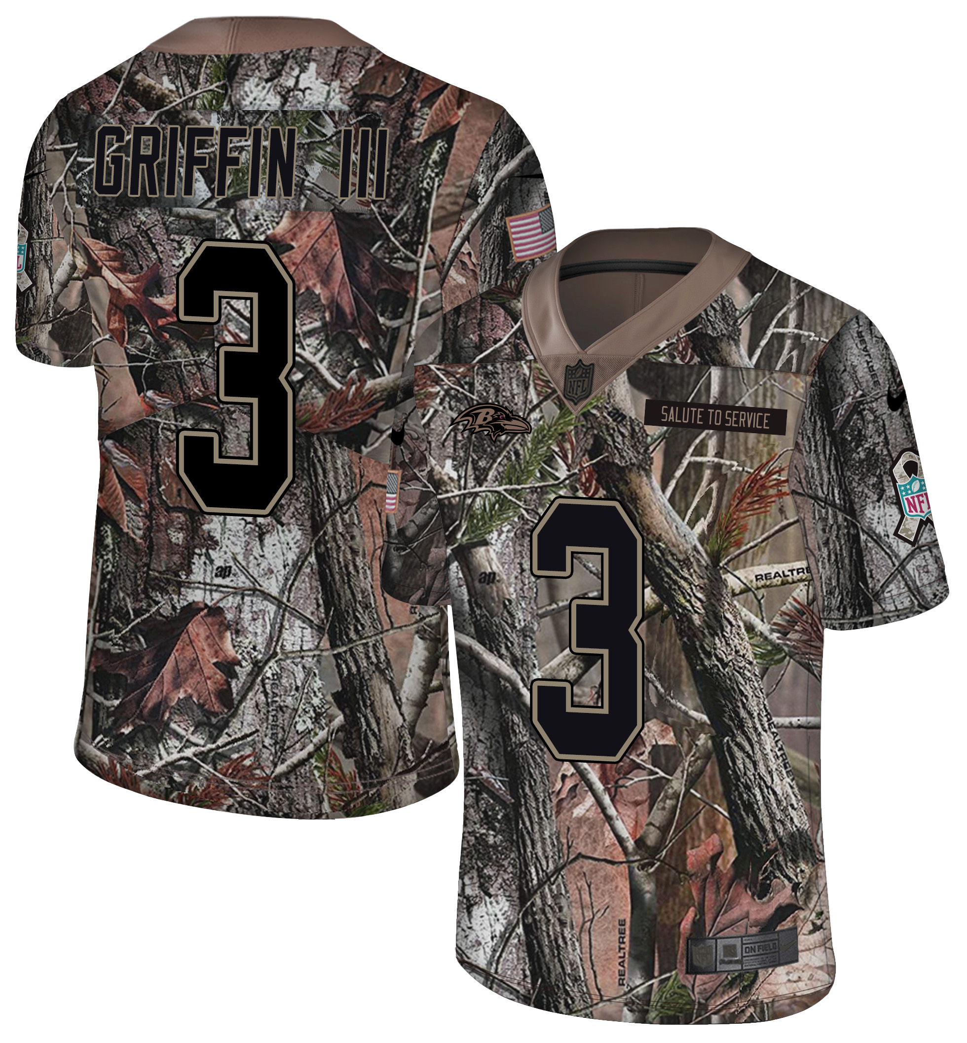 Men's Baltimore Ravens #3 Robert Griffin III Camo Realtree Rush Limited Stitched NFL Jersey